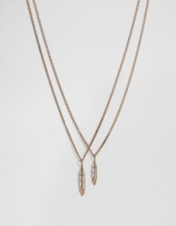 Mister Feather Necklace In Rose Gold - Gold