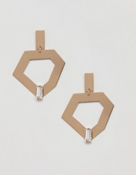 Monki Abstract Gem Drop Earrings - Gold