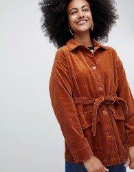 Monki belted cord jacket in rust - Brown