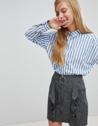 Monki Boxy Striped Shirt - Blue