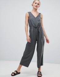 Monki Check Jumpsuit - Grey