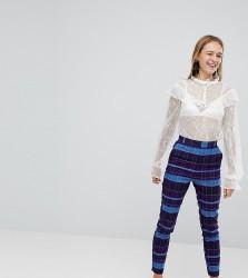 Monki Check Slim Trousers - Multi