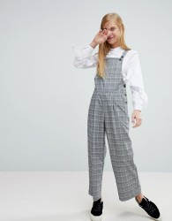 Monki Check Tailored Dungarees - Black
