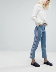 Monki Side Stripe Mom Jeans - Blue