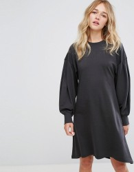 Monki Skater Midi Sweat Dress - Black