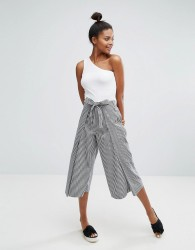 Monki Tie Waist Gingham Print Trousers - Black