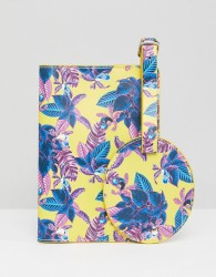 Monki Tropical Passport Holder And Luggage Tag - Multi