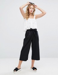 Monki Wide Leg Tie Front Culotte Trousers - Black