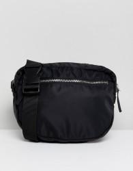 Monki Zip Front Body Bag - Black