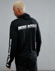 Mons Royale Yotei Powder Long Sleeve Top with Hood in Merino - Black