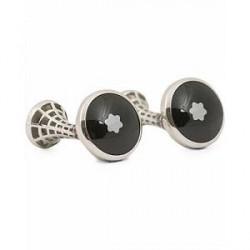 Montblanc Steel Cufflinks Black Emblem