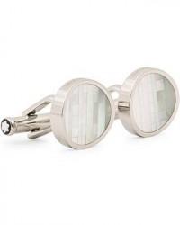 Montblanc Steel Cufflinks Mother of Pearl men One size Hvid,Sølv