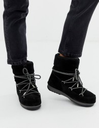 Moon Boot Low Suede Waterproof Boot in Black - Black