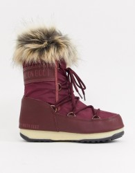 Moon Boot Monaco Faux Fur Cuff Snowboots in Burgundy - Red