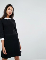 Morgan 2 in 1 Knitted Skater Dress With Shirt Underlay - Black