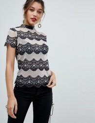 Morgan Allover Contrast Lace Top - Multi