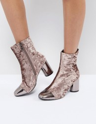 Morgan Allover Velvet Boots With Metal Toe Cap Detail - Pink