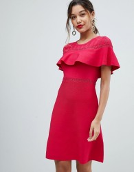 Morgan Bodycon Dress With Frill Overlay - Red