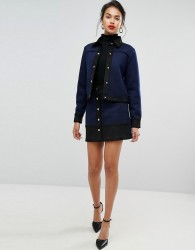 Morgan Button Down Textured Aline Skirt Co-Ord - Navy