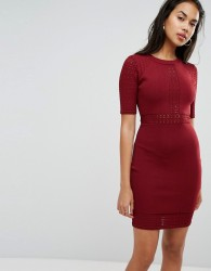 Morgan Detailed Bodycon Mini Dress - Red