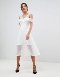 Morgan Frilly Cold Shoulder Full Prom Midi Dress - White