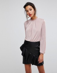 Morgan High Neck Blouse With Lace Back Detail - Pink