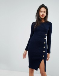 Morgan Knitted Dress With Military Button Detail - Navy