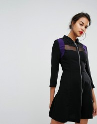 Morgan Mesh Panel Zip Front Dress - Black