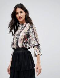 Morgan Mix n Match Floral Lace Trim Blouse - Multi