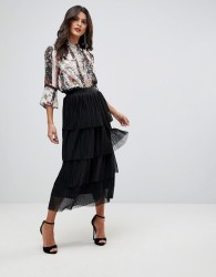 Morgan Ruffle Lace Midi Skirt - Black