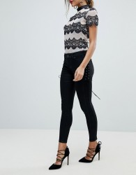 Morgan Skinny Jean With Lace Up Side Detail - Black