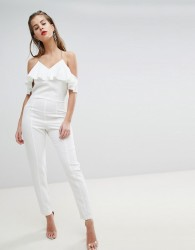 Morgan Strappy Jumpsuit With Frill Detail - White