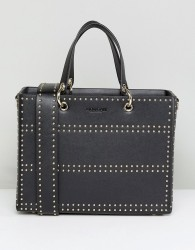 Morgan Studded Box Bag With Side Strap - Black