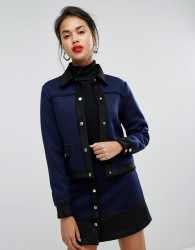 Morgan Teddy Cropped Jacket With Military Detail Co-ord - Navy