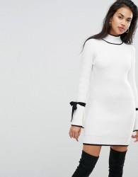 Morgan Tie Sleeve Dress - Cream