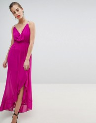 Morgan Wrap Front Midaxi Dress With Chain Strap Detail - Pink