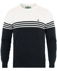 Morris Barry Knitted Stripe Crew Neck Pullover White/Navy men L
