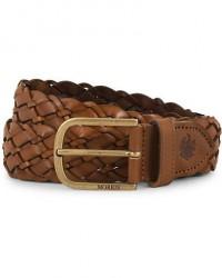 Morris Braided Leather 3,5 cm Belt Cognac men 105 Brun
