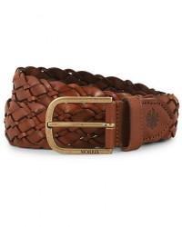 Morris Braided Leather 3,5 cm Belt Cognac men 95 Brun