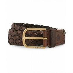 Morris Braided Leather 3,5 cm Belt Dark Brown
