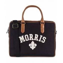 Morris Canvas Computer Bag Navy/Cognac