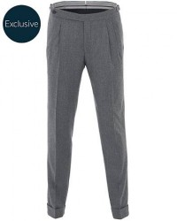 Morris Heritage Carl Double Pleated Flannel Trousers Grey men 58