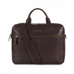 Morris Leather Computer Bag Dark Brown