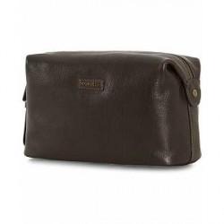 Morris Leather Washbag Dark Brown