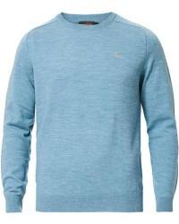 Morris Merino O-Neck Pullover Aqua men XL Blå