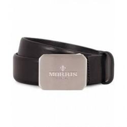 Morris Plated Logo Leather 3,5 cm Belt Black