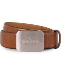 Morris Plated Logo Leather 3,5 cm Belt Mid Brown men 90 Brun