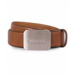 Morris Plated Logo Leather 3,5 cm Belt Mid Brown
