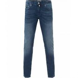 Morris Steave Satin Jeans Mid Blue