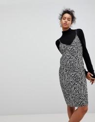 Moss Copenhagen Animal Print Slip Dress - Black